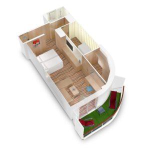 AIDA Cruises-AIDAmira-AIDA-Mira-schip-Cruiseschip-Categorie JB-JA-Junior-suite met balkon-diagram