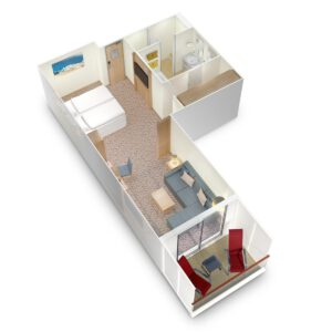 AIDA Cruises-AIDAmira-AIDA-Mira-schip-Cruiseschip-Categorie SB-Premium-suite met prive Zonnedek-diagram