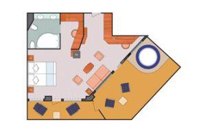 Costa Cruises-Costa Fascinosa-Costa Favolosa-Costa Cruises-schip-Cruiseschip-Categorie SG-Samsara Grand Suite balkon-diagram