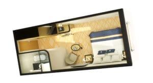 Cunard-Queen Mary 2-schip-Cruiseschip-Categorie HB-Atriumzicht Binnenhut-diagram