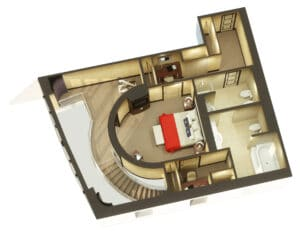 Cunard-Queen Mary 2-schip-Cruiseschip-Categorie Q1-Grand Duplex-boven-diagram