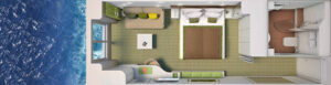 Hapag Lloyd-Hanseatic Nature-schip-Cruiseschip-Categorie 1-outside cabin-diagram