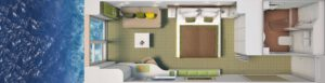 Hapag Lloyd-Hanseatic Nature-schip-Cruiseschip-Categorie 3-5-french balcony cabin-diagram