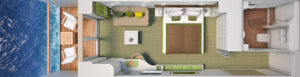 Hapag Lloyd-Hanseatic Nature-schip-Cruiseschip-Categorie 4-6-7-8-balcony cabin-diagram