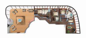 Norwegian-cruise-line-Norwegian-Dawn-schip-cruiseschip-categorie S1-3bedroom garden villa-diagram