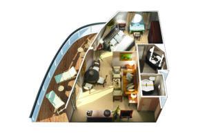 Oceania Cruises-Oceania-Insignia-Regatta-Nautica-Sirena-schip-Cruiseschip-Categorie VS-Vista Suite-diagram