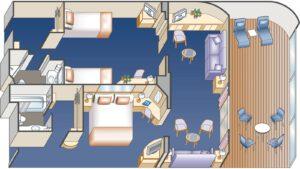 Princess-cruises-Crown-princess-schip-cruiseschip-categorie S8-familie suite met balkon-diagram