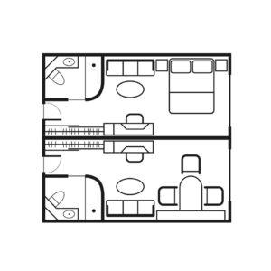 Seadream-Seadream-1-Seadream-2-schip-cruiseschip-categorie C2-C3-Commodore-Suite-diagram