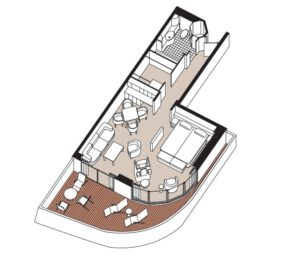 regent-seven-seas-seven-seas-voyager-schip-cruiseschip-categorie SSA-SSF-forward-aft-seven seas suite-diagram