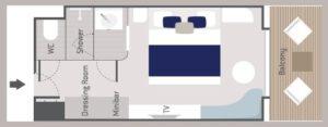 Ponant-le-Bellot-Le Dumont d urville-le Jacques Cartier-schip-cruiseschip-categorie DEL-Deluxe-hut-diagram