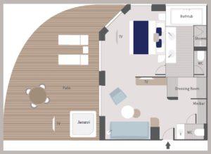 Ponant-le-Bellot-Le Dumont d urville-le Jacques Cartier-schip-cruiseschip-categorie SA-Owner-Suite-diagram