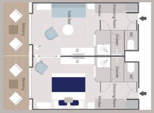 Ponant-le-Bellot-le Dumont d urville-le Jacques Cartier-schip-cruiseschip-categorie PS6-PS5-prestige-suite-diagram