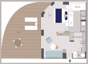 Ponant-le-Bougainville-schip-cruiseschip-categorie GDS5-GDS6-Grand Deluxe Suite-diagram