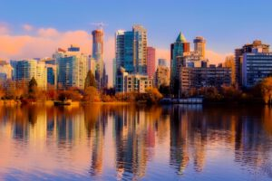 kyline over het water op Vancouver noord amerika cruisereis