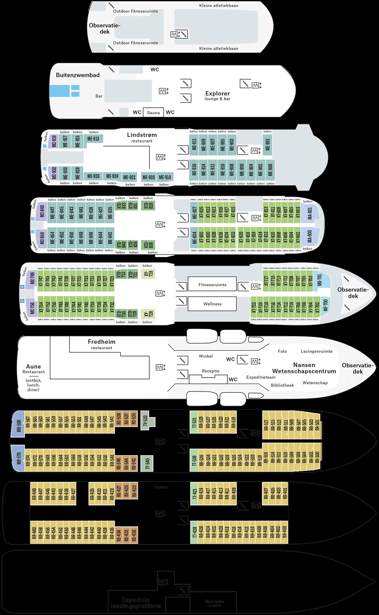Cruiseschip-Hurtigruten-MS Fridtjof Nansen-schip-Dekkenplan