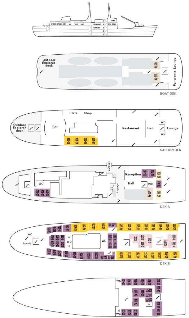Cruiseschip-Hurtigruten-MS Lofoten-Schip-Dekkenplan