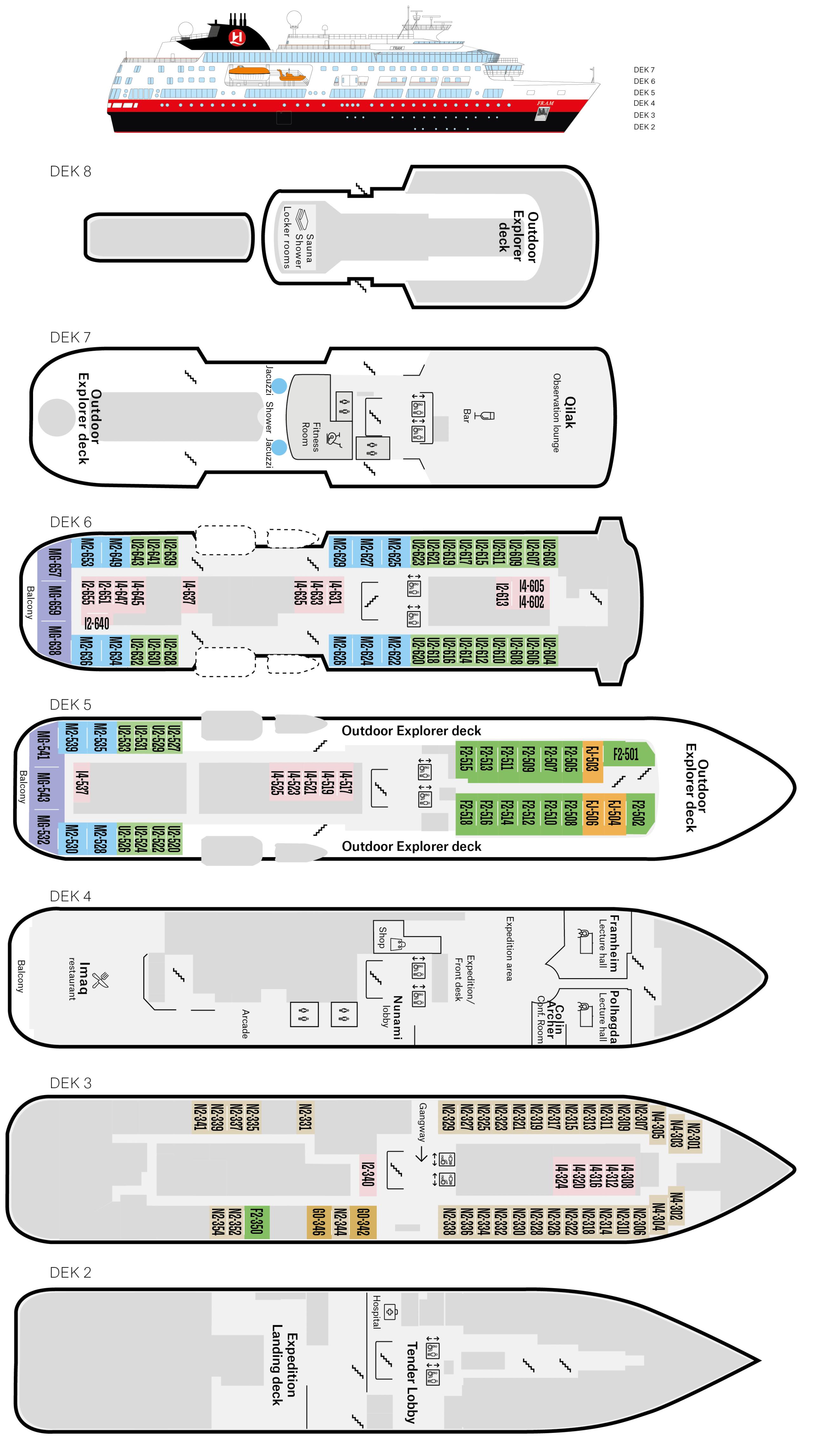 Cruiseschip-Hurtigruten-MS Fram-Schip-Dekkenplan