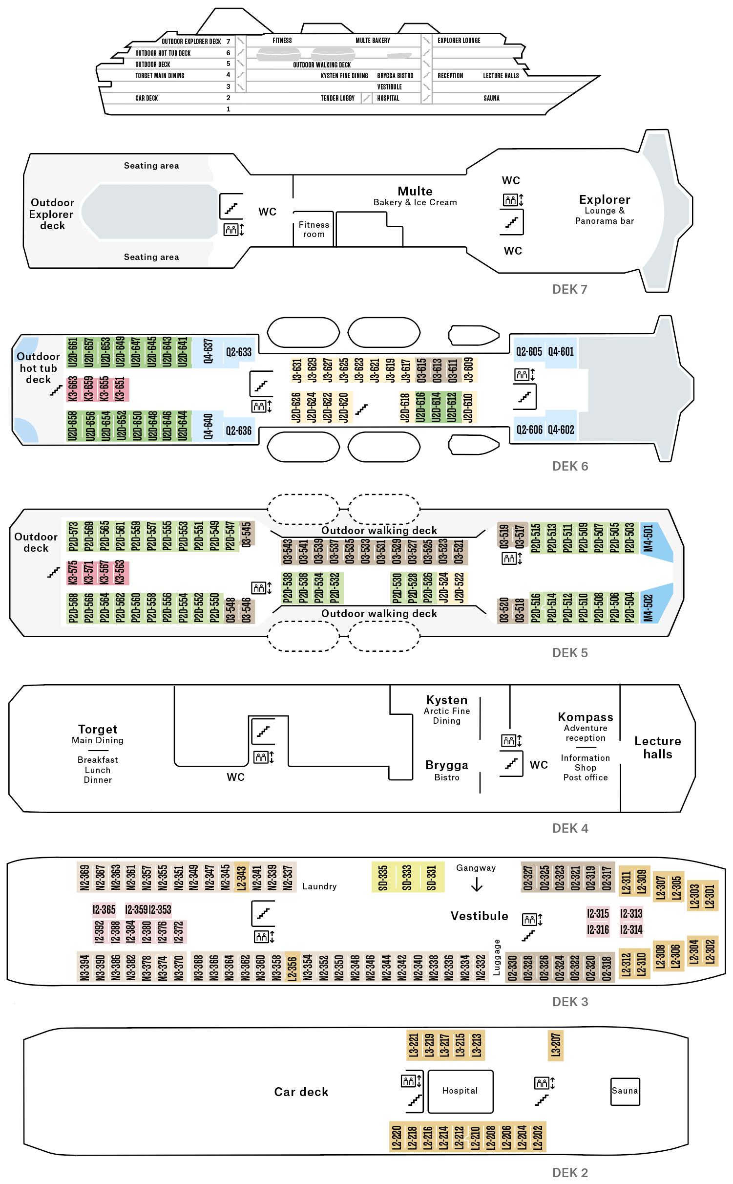Cruiseschip-Hurtigruten-MS Nordkapp-Schip-Dekkenplan