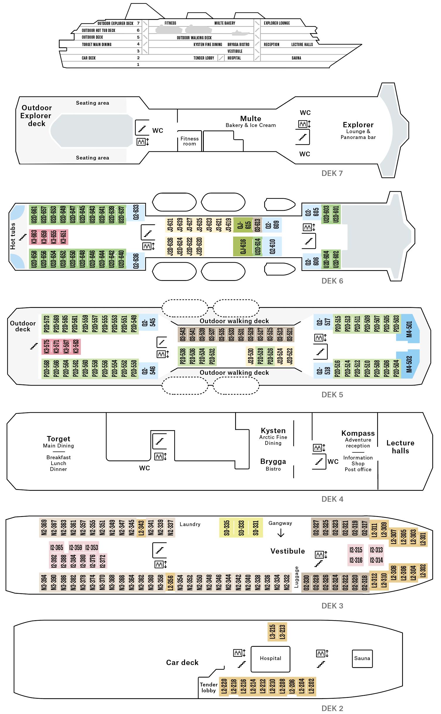 Cruiseschip-Hurtigruten-MS Nordnorge-Schip-Dekkenplan