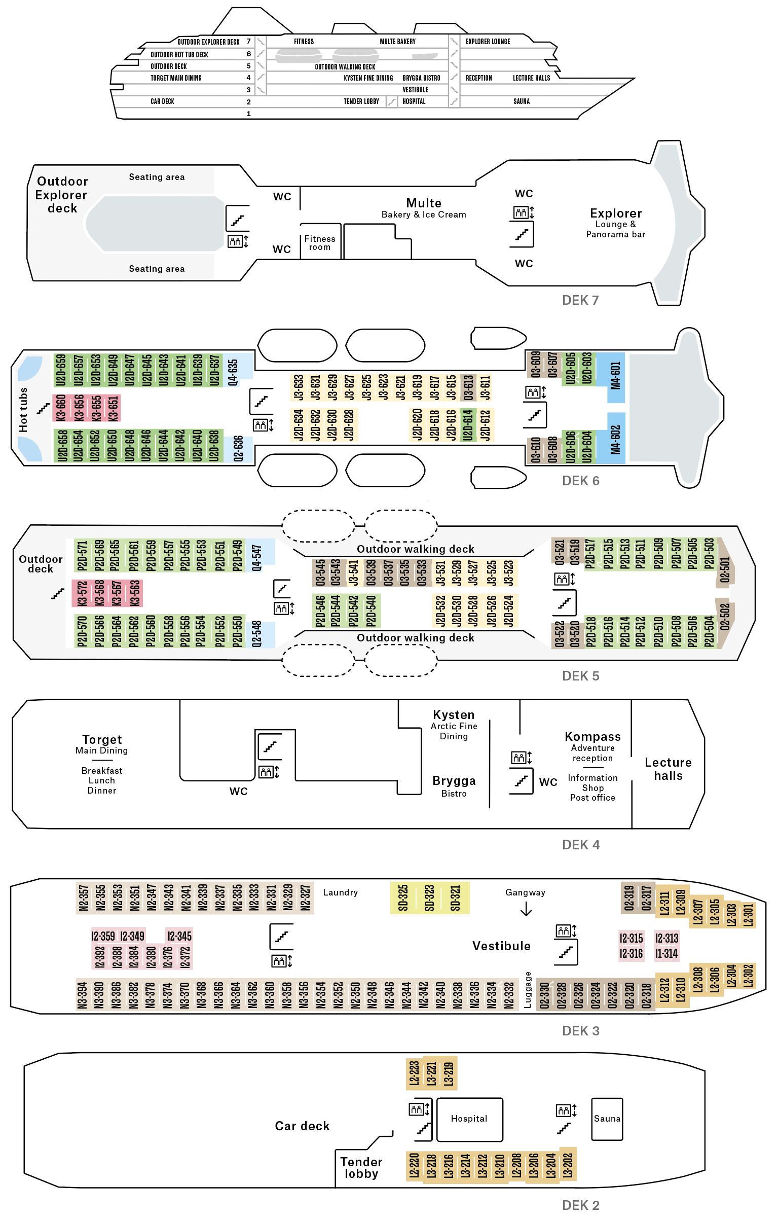 Cruiseschip-Hurtigruten-MS Polarlys-Schip-Dekkenplan