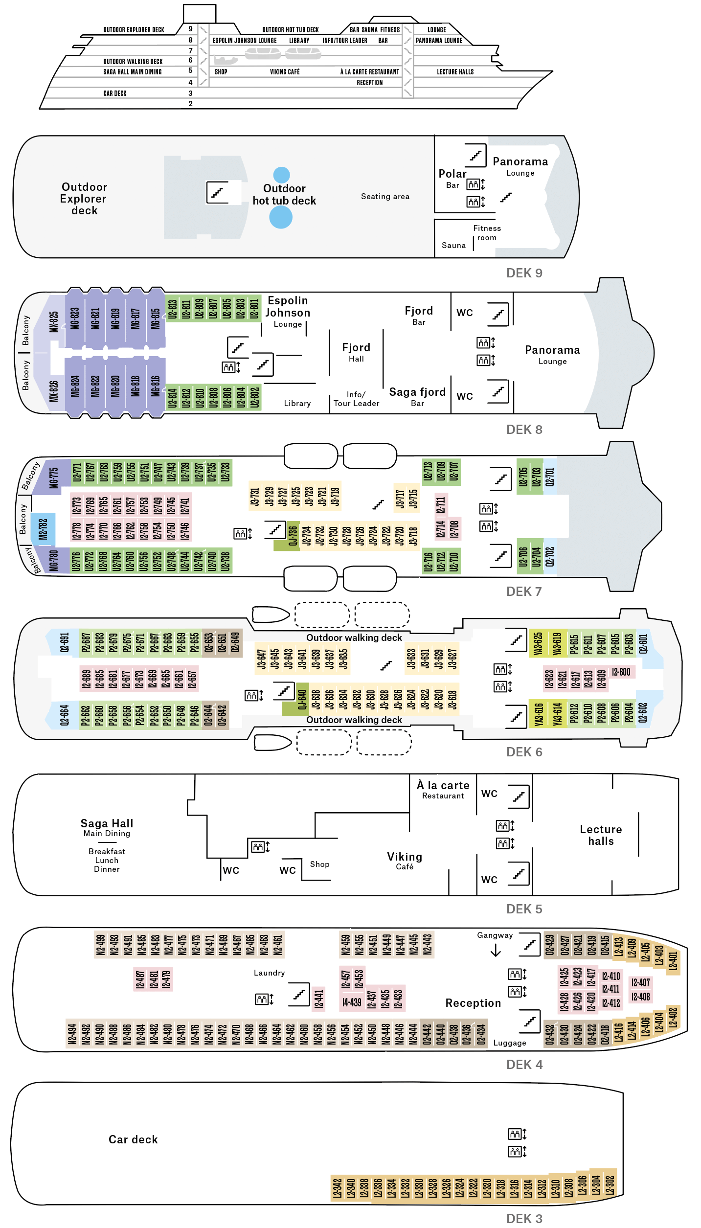 Cruiseschip-Hurtigruten-MS Trollfjord-Schip-Dekkenplan
