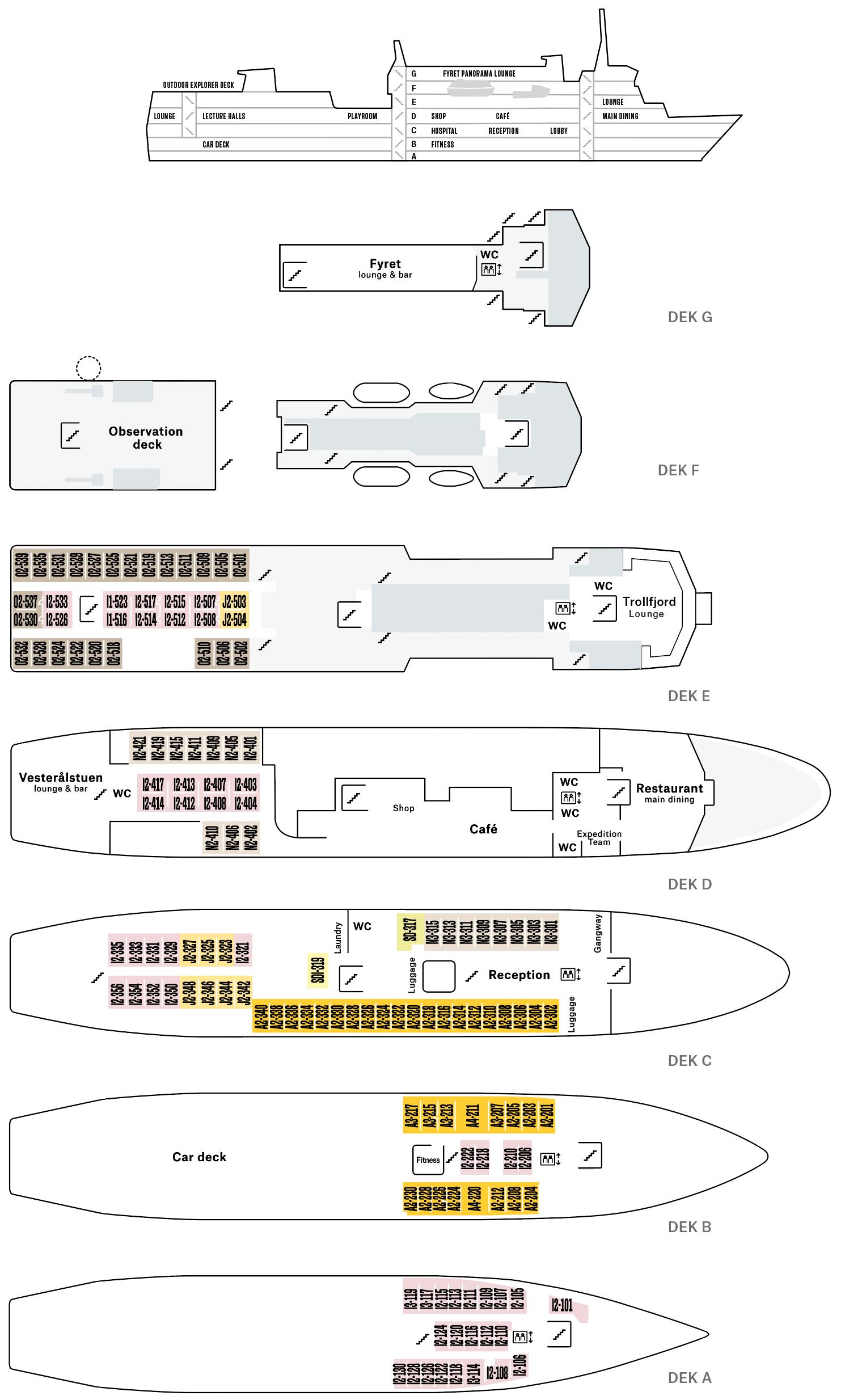 Cruiseschip-Hurtigruten-MS Vesteralen-Schip-Dekkenplan