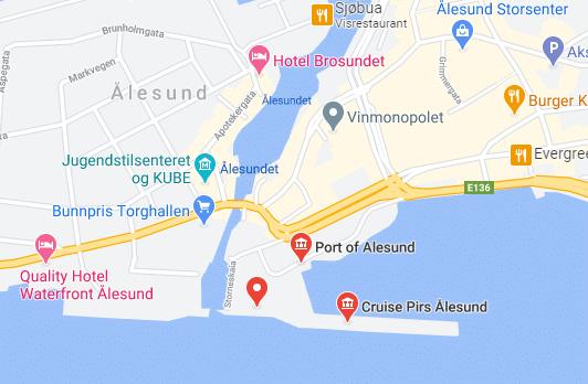 Noorwegen-Alesund-cruise-haven-map