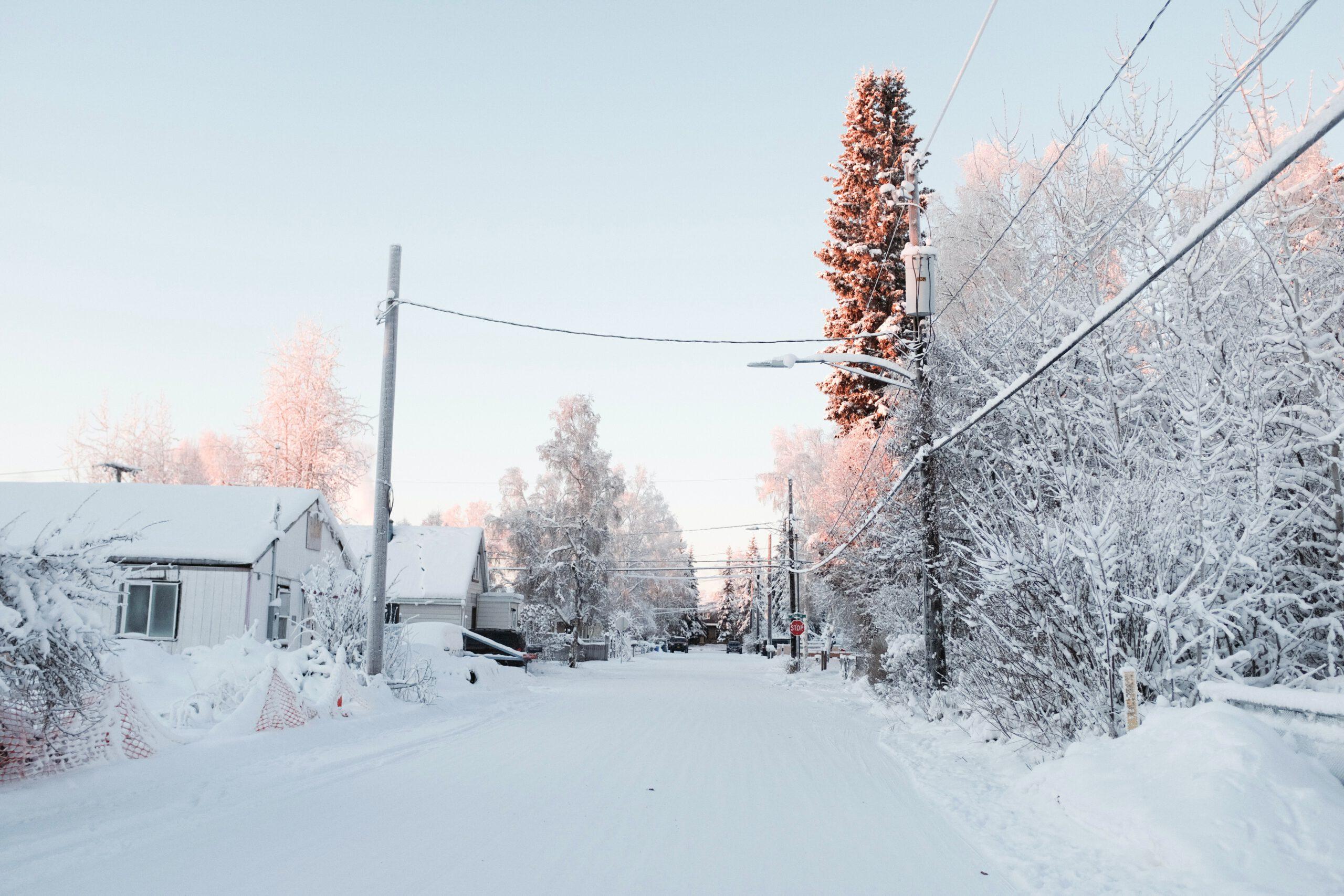 alaska-Fairbanks-sneeuw-straat-huizen